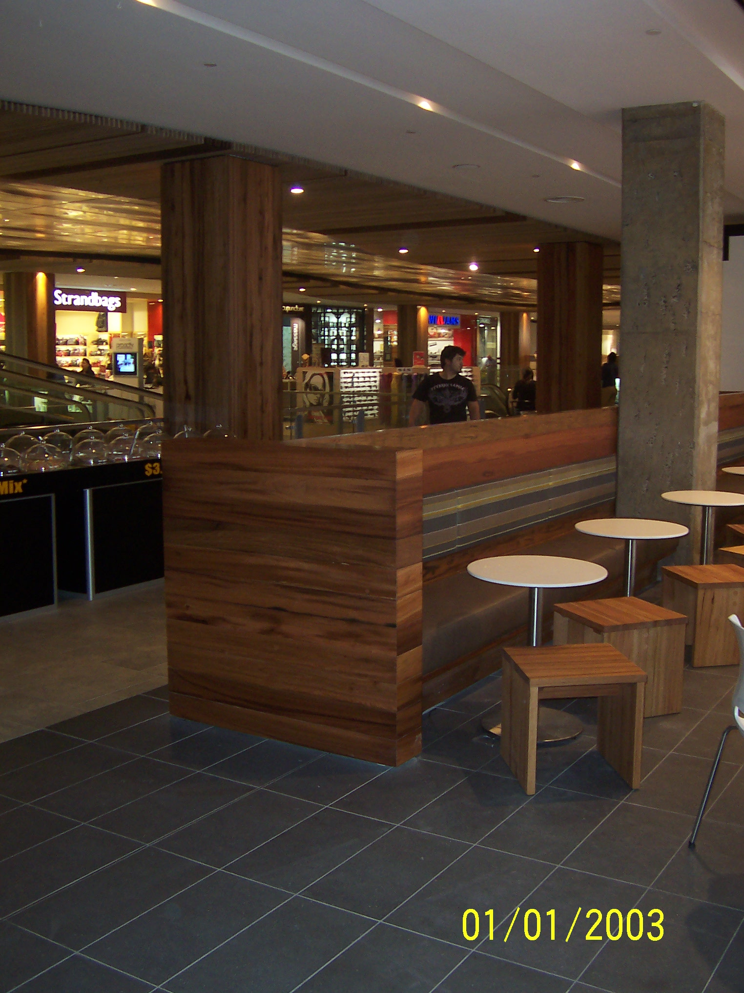 Recycled Timber Column Woollongong Shopping Centre